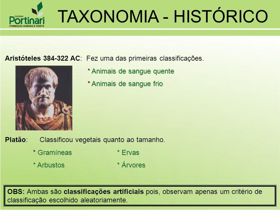 Aristóteles 384-322 AC: Fez uma das primeiras classificações. Animais de sangue quente * Animais de sangue quente * Animais de sangue frio * Animais d