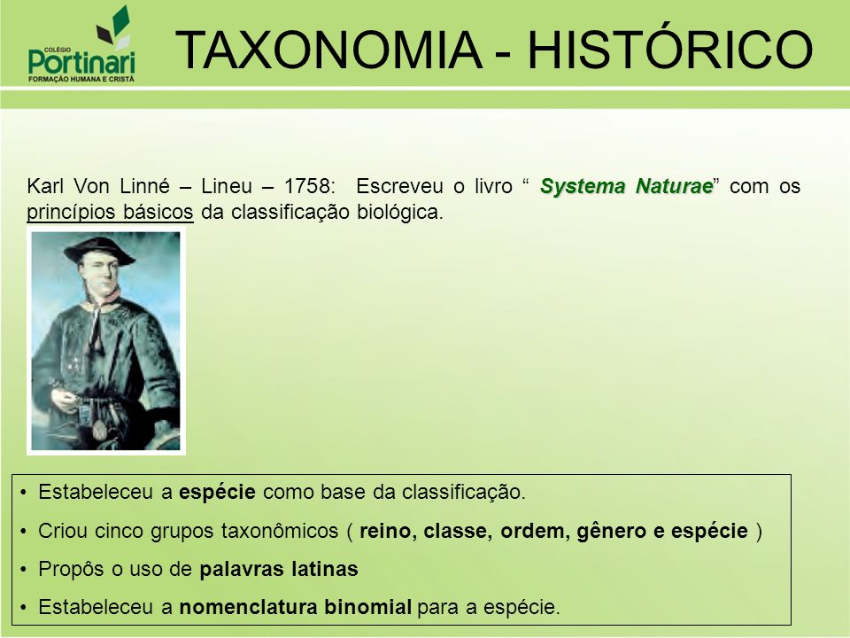 Estabeleceu a espécie como base da classificação. Criou cinco grupos taxonômicos ( reino, classe, ordem, gênero e espécie ) Propôs o uso de palavras l