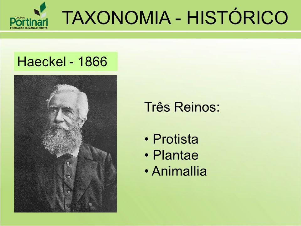 Três Reinos: Protista Plantae Animallia Haeckel - 1866 TAXONOMIA - HISTÓRICO