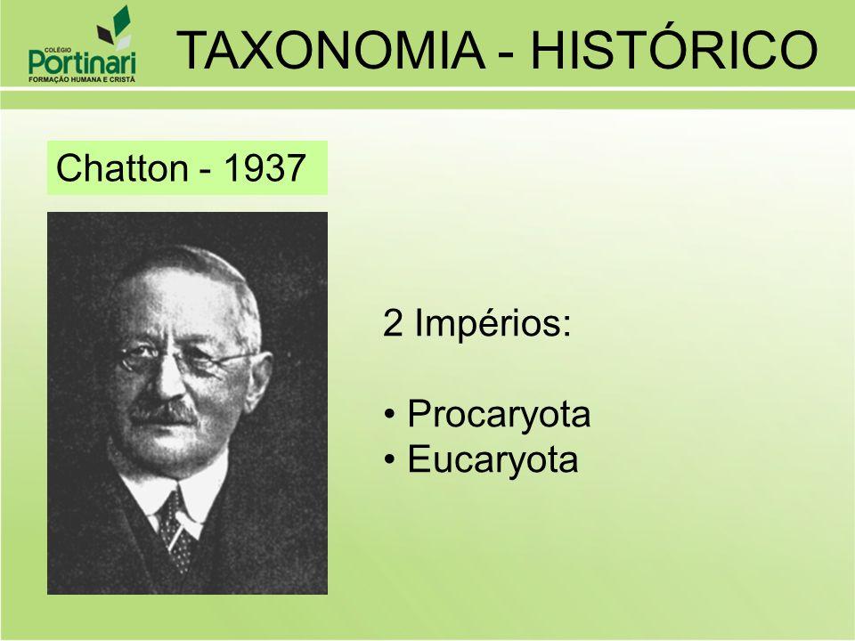 Chatton - 1937 2 Impérios: Procaryota Eucaryota TAXONOMIA - HISTÓRICO
