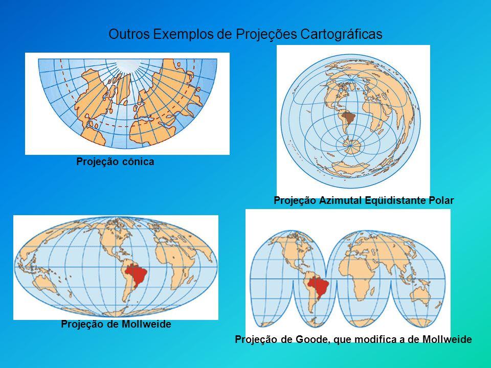Outros Exemplos de Projeções Cartográficas Projeção cônica Projeção Azimutal Eqüidistante Polar Projeção de Mollweide Projeção de Goode, que modifica