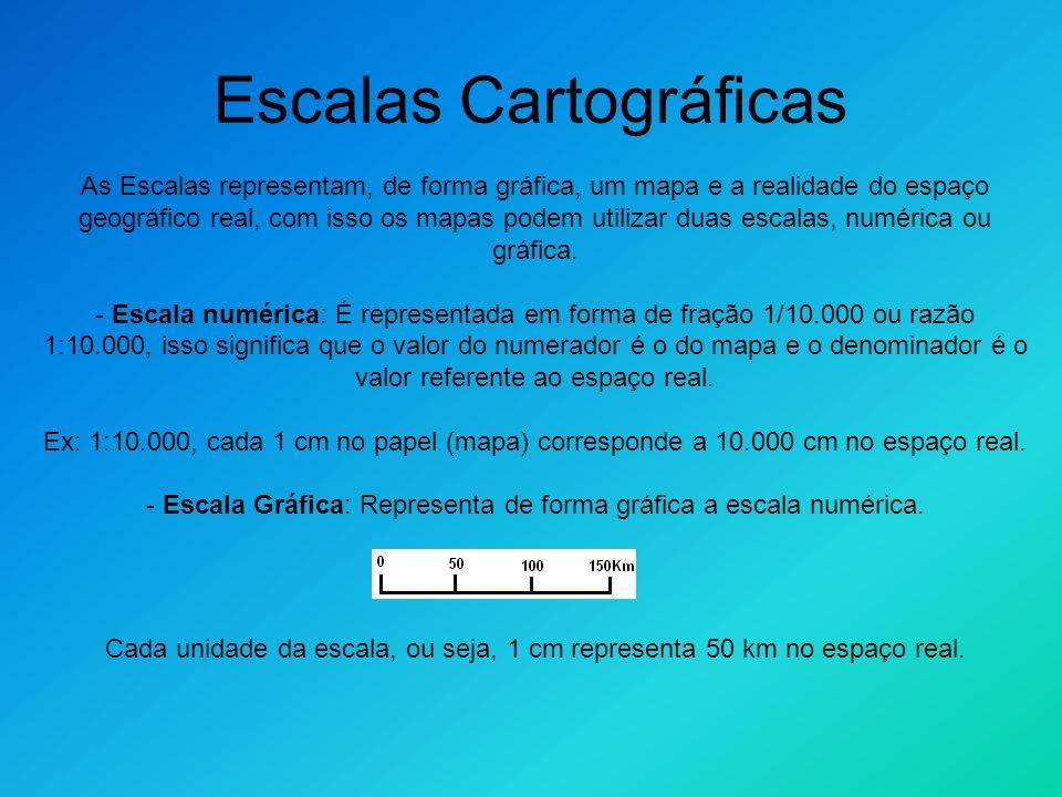 As Escalas representam, de forma gráfica, um mapa e a realidade do espaço geográfico real, com isso os mapas podem utilizar duas escalas, numérica ou