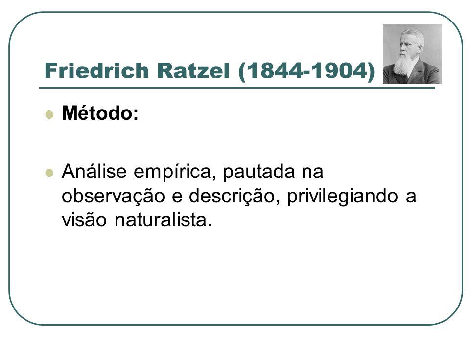 Friedrich Ratzel (1844-1904) Método: Análise empírica, pautada na observação e descrição, privilegiando a visão naturalista.