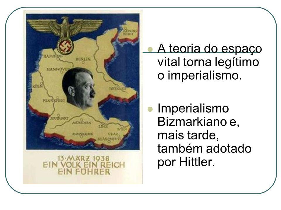 A teoria do espaço vital torna legítimo o imperialismo. Imperialismo Bizmarkiano e, mais tarde, também adotado por Hittler.