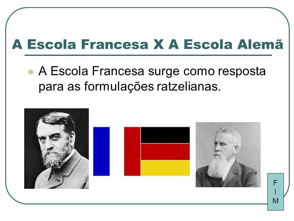 A Escola Francesa X A Escola Alemã A Escola Francesa surge como resposta para as formulações ratzelianas. FIMFIM