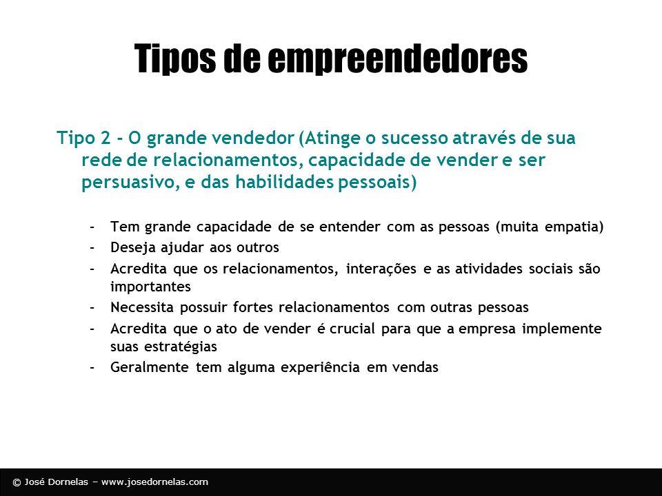 © José Dornelas – www.josedornelas.com Tipos de empreendedores Tipo 2 - O grande vendedor (Atinge o sucesso através de sua rede de relacionamentos, ca