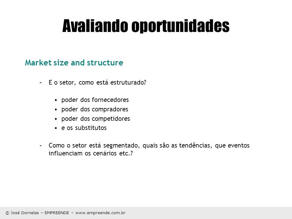 © José Dornelas – EMPREENDE – www.empreende.com.br Avaliando oportunidades Market size and structure –E o setor, como está estruturado? poder dos forn