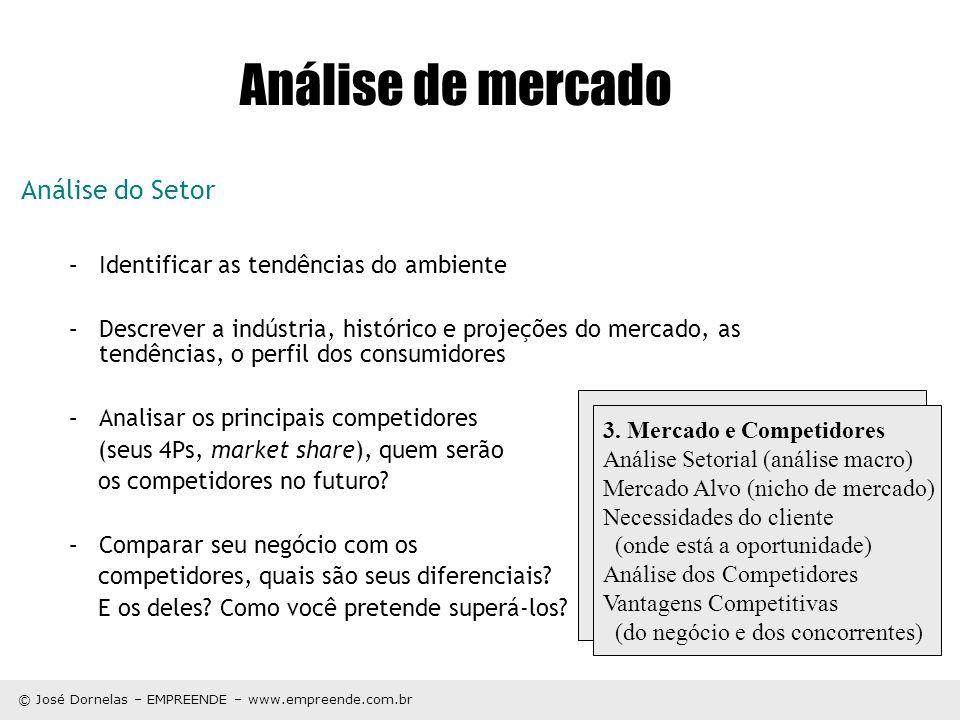 © José Dornelas – EMPREENDE – www.empreende.com.br Análise de mercado Análise do Setor –Identificar as tendências do ambiente –Descrever a indústria,