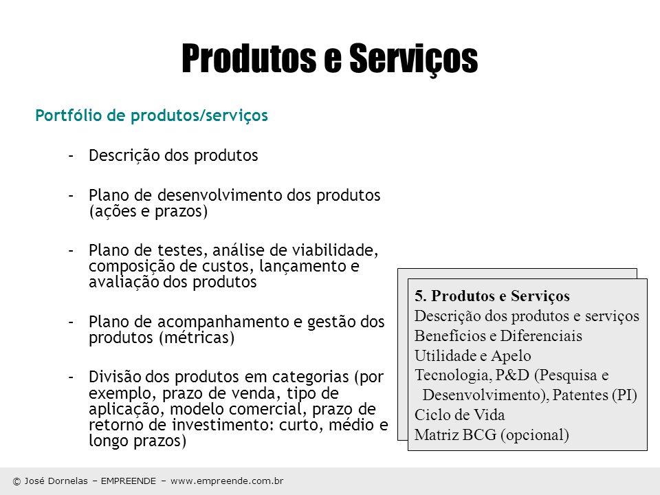 © José Dornelas – EMPREENDE – www.empreende.com.br Produtos e Serviços Portfólio de produtos/serviços –Descrição dos produtos –Plano de desenvolviment