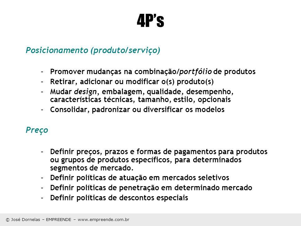 © José Dornelas – EMPREENDE – www.empreende.com.br 4Ps Posicionamento (produto/serviço) –Promover mudanças na combinação/portfólio de produtos –Retira
