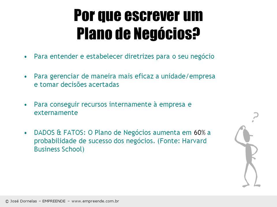 © José Dornelas – EMPREENDE – www.empreende.com.br Por que escrever um Plano de Negócios? Para entender e estabelecer diretrizes para o seu negócio Pa