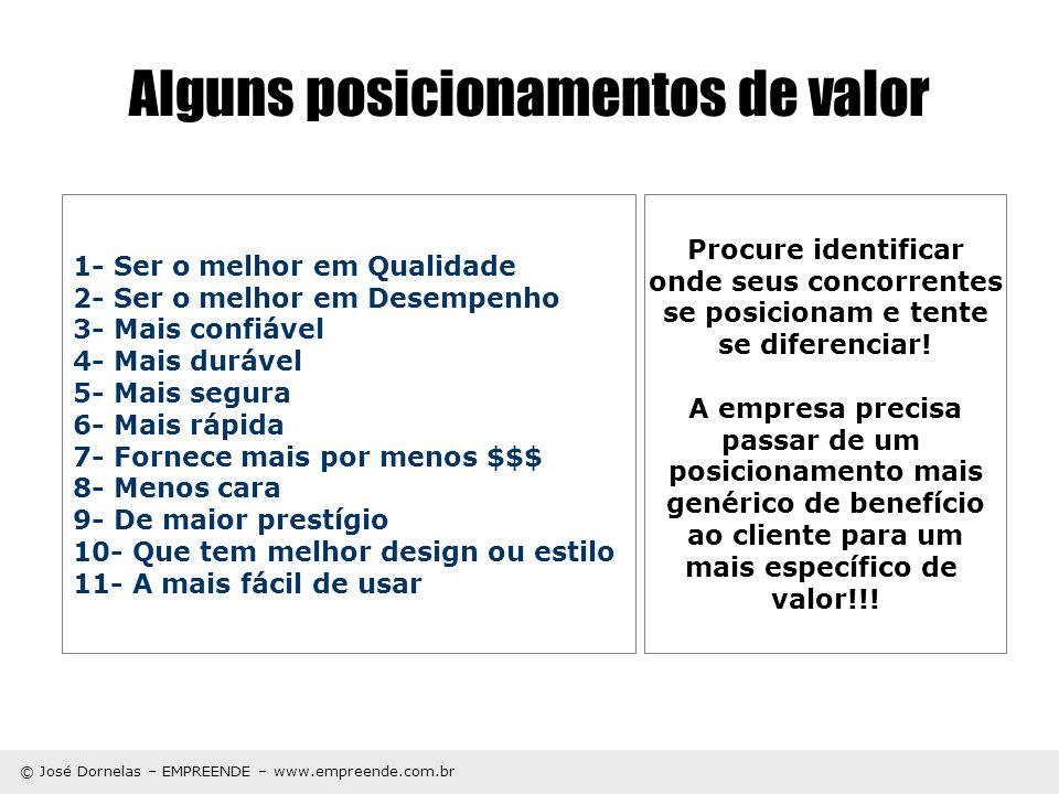 © José Dornelas – EMPREENDE – www.empreende.com.br Procure identificar onde seus concorrentes se posicionam e tente se diferenciar! A empresa precisa