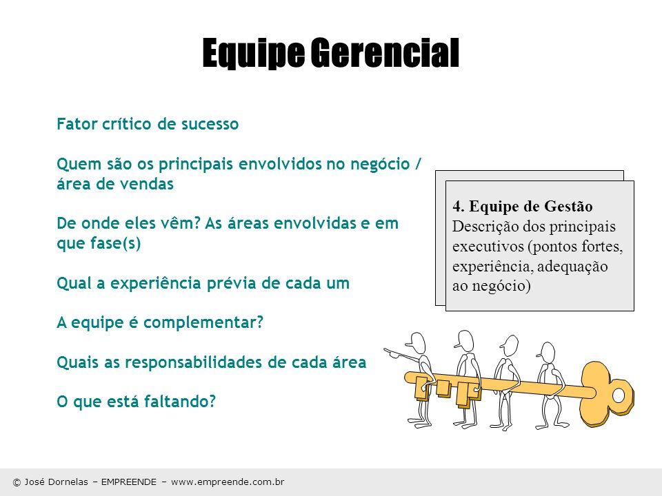 © José Dornelas – EMPREENDE – www.empreende.com.br Equipe Gerencial Fator crítico de sucesso Quem são os principais envolvidos no negócio / área de ve