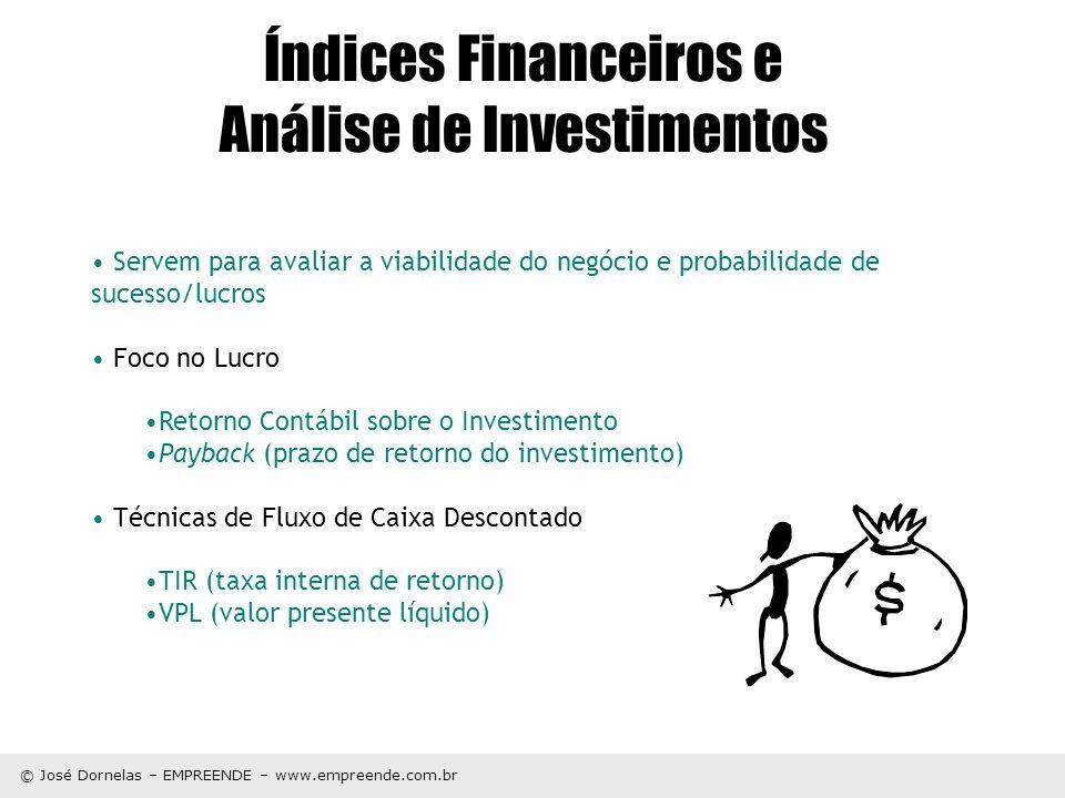 © José Dornelas – EMPREENDE – www.empreende.com.br Índices Financeiros e Análise de Investimentos Servem para avaliar a viabilidade do negócio e proba