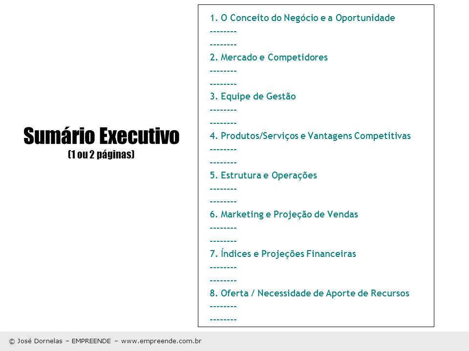 © José Dornelas – EMPREENDE – www.empreende.com.br Sumário Executivo (1 ou 2 páginas) 1. O Conceito do Negócio e a Oportunidade -------- 2. Mercado e