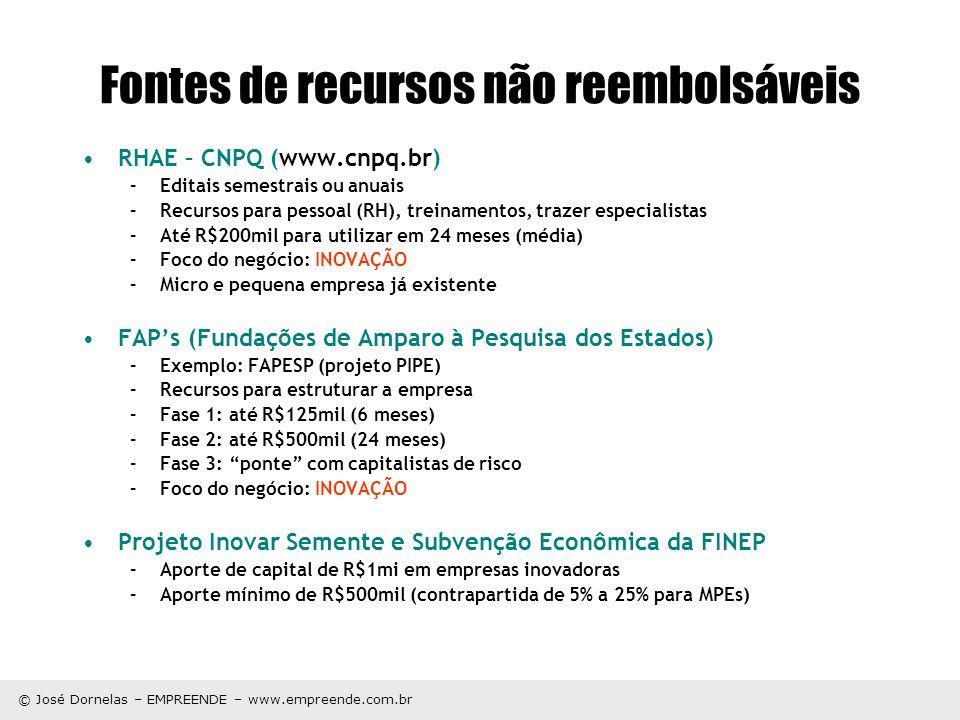 © José Dornelas – EMPREENDE – www.empreende.com.br Fontes de recursos não reembolsáveis RHAE – CNPQ (www.cnpq.br) –Editais semestrais ou anuais –Recur