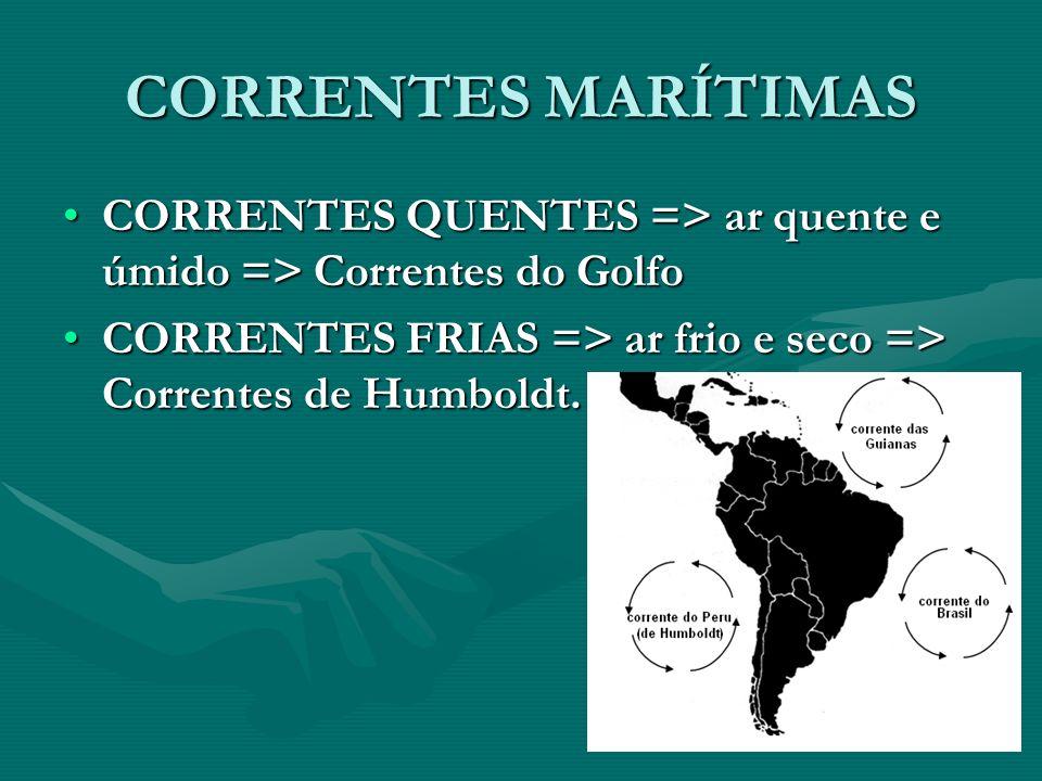 CORRENTES MARÍTIMAS CORRENTES QUENTES => ar quente e úmido => Correntes do GolfoCORRENTES QUENTES => ar quente e úmido => Correntes do Golfo CORRENTES