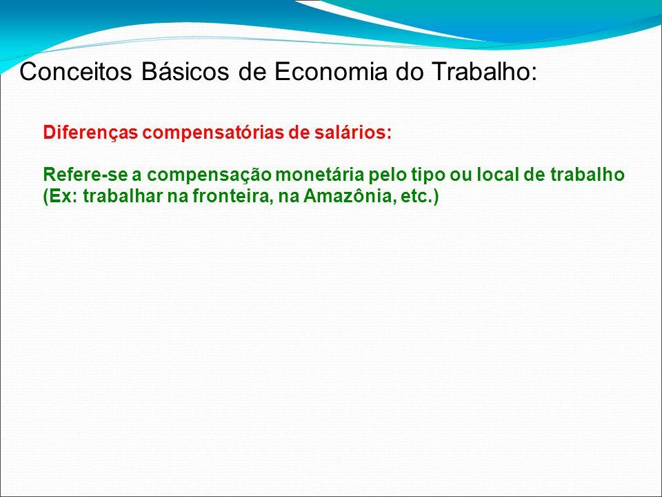 Diferenças compensatórias de salários: Refere-se a compensação monetária pelo tipo ou local de trabalho (Ex: trabalhar na fronteira, na Amazônia, etc.
