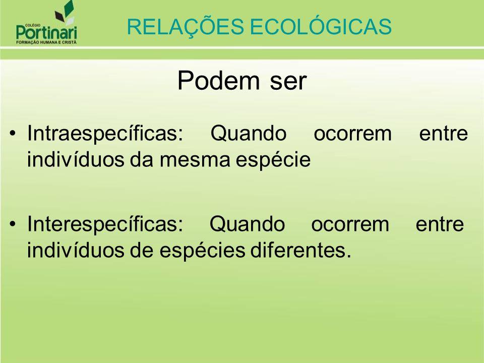 RELAÇÕES ECOLÓGICAS HARMÔNICAS (não ocorrem prejuízos para os envolvidos) INTRA-ESPECÍFICAS (ocorrem entre indivíduos da mesma espécie, dentro das populações) COLÔNIAS ( + / +) (indivíduos unidos anatomicamente, dividindo ou não funções) ex: bactérias, esponjas, corais, cracas SOCIEDADES (+ / +) (indivíduos não unidos anatomicamente, organizados cooperativamente) ex: abelhas, vespas, cupins, formigas RELAÇÕES ECOLÓGICAS