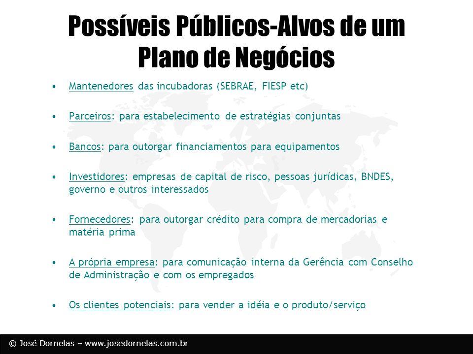 © José Dornelas – www.josedornelas.com.br Possíveis Públicos-Alvos de um Plano de Negócios Mantenedores das incubadoras (SEBRAE, FIESP etc) Parceiros: