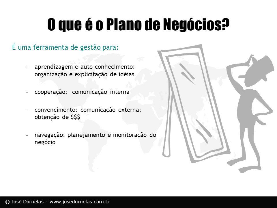 © José Dornelas – www.josedornelas.com.br O que é o Plano de Negócios? É uma ferramenta de gestão para: –aprendizagem e auto-conhecimento: organização