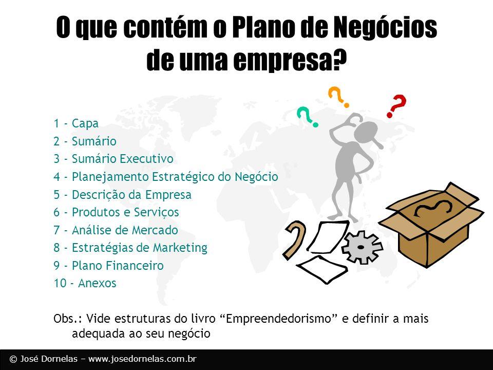 © José Dornelas – www.josedornelas.com.br 1 - Capa 2 - Sumário 3 - Sumário Executivo 4 - Planejamento Estratégico do Negócio 5 - Descrição da Empresa