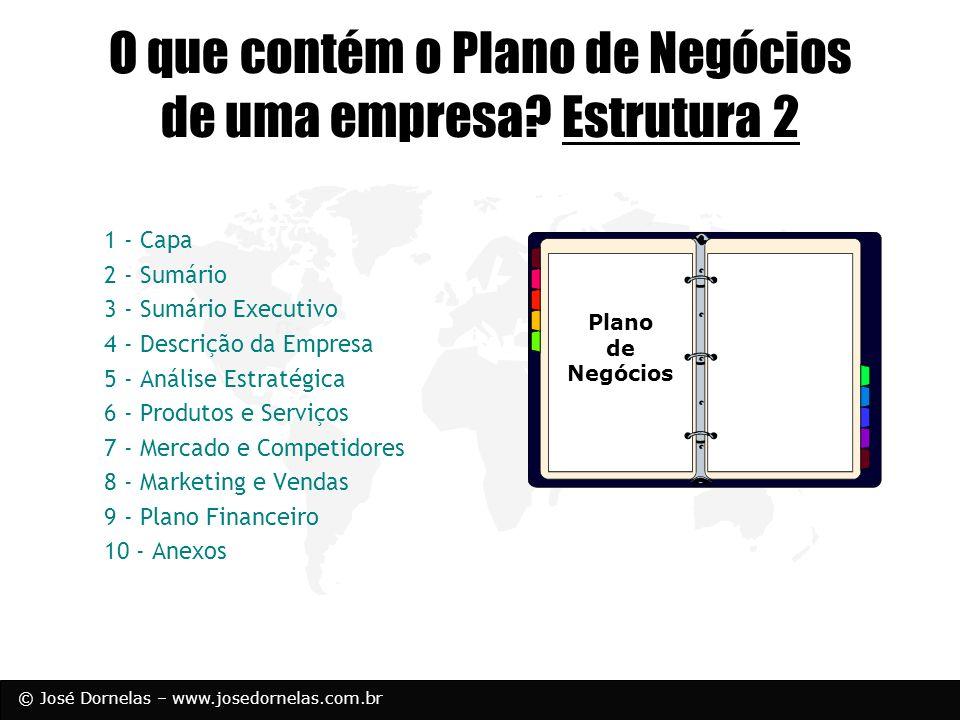 © José Dornelas – www.josedornelas.com.br O que contém o Plano de Negócios de uma empresa? Estrutura 2 1 - Capa 2 - Sumário 3 - Sumário Executivo 4 -