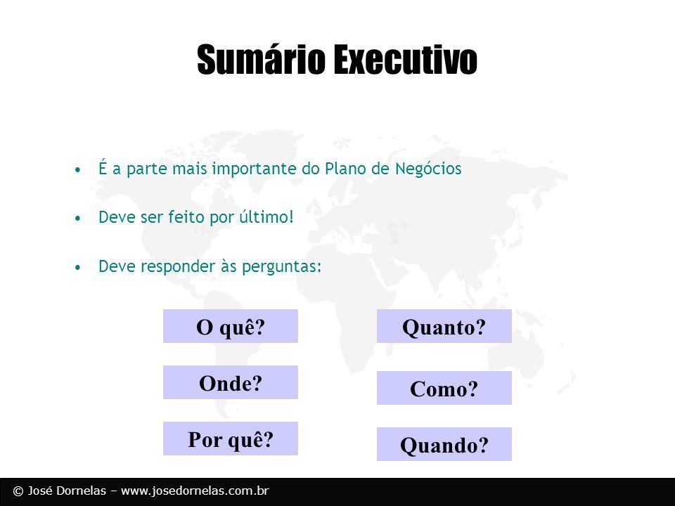 © José Dornelas – www.josedornelas.com.br O quê? Como? Quanto? Onde? Quando? Por quê? Sumário Executivo É a parte mais importante do Plano de Negócios