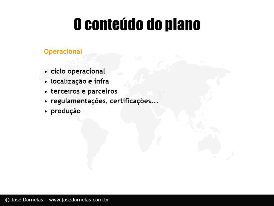 © José Dornelas – www.josedornelas.com.br O conteúdo do plano Operacional ciclo operacional localização e infra terceiros e parceiros regulamentações,