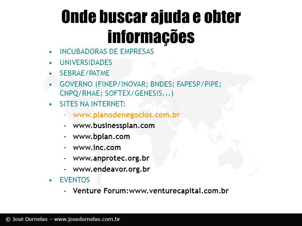 © José Dornelas – www.josedornelas.com.br Onde buscar ajuda e obter informações INCUBADORAS DE EMPRESAS UNIVERSIDADES SEBRAE/PATME GOVERNO (FINEP/INOV