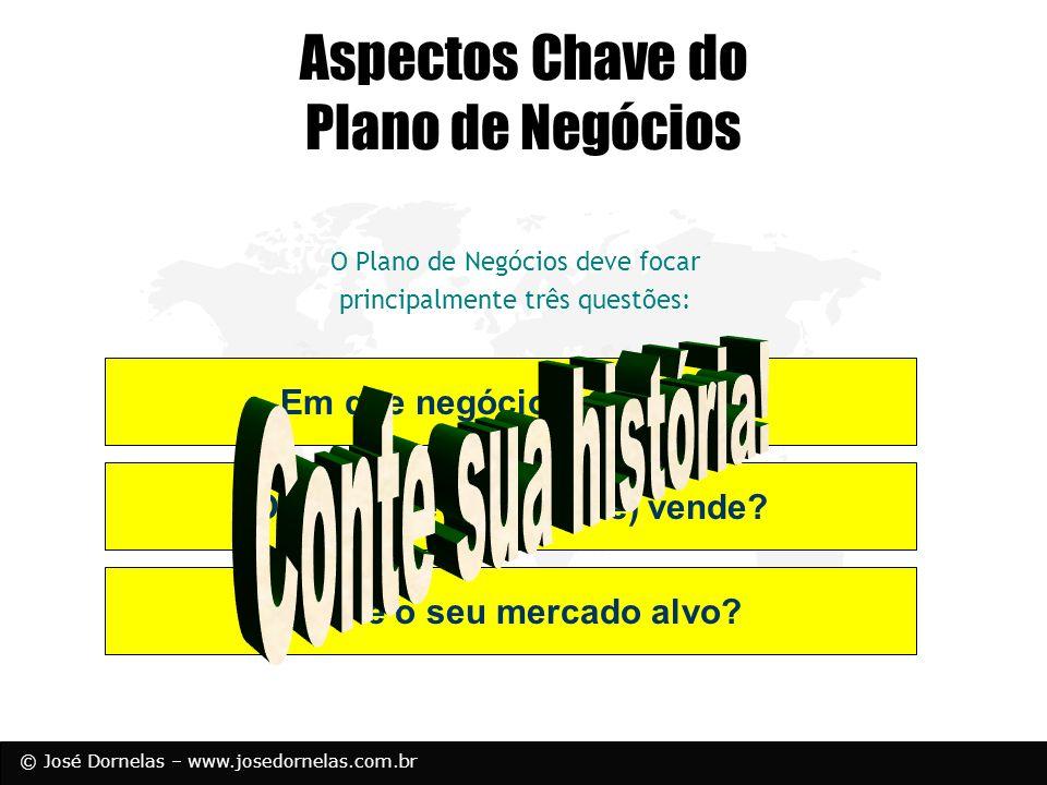 © José Dornelas – www.josedornelas.com.br Em que negócio você está? O quê você (realmente) vende? Qual é o seu mercado alvo? Aspectos Chave do Plano d