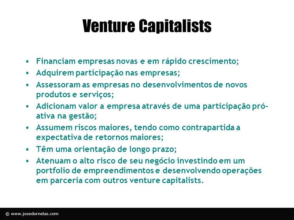 © www.josedornelas.com Venture Capitalists Financiam empresas novas e em rápido crescimento; Adquirem participação nas empresas; Assessoram as empresa