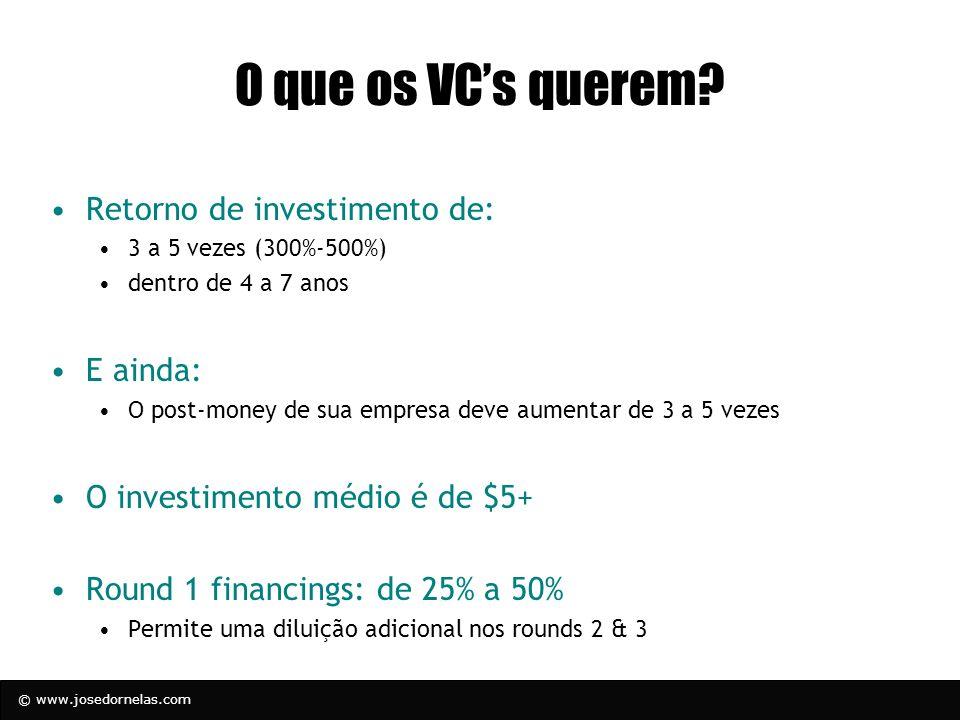 © www.josedornelas.com O que os VCs querem? Retorno de investimento de: 3 a 5 vezes (300%-500%) dentro de 4 a 7 anos E ainda: O post-money de sua empr
