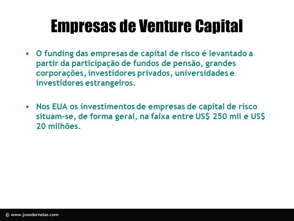 © www.josedornelas.com Empresas de Venture Capital O funding das empresas de capital de risco é levantado a partir da participação de fundos de pensão