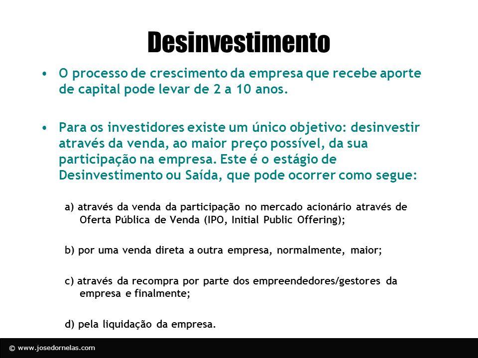 © www.josedornelas.com Desinvestimento O processo de crescimento da empresa que recebe aporte de capital pode levar de 2 a 10 anos. Para os investidor