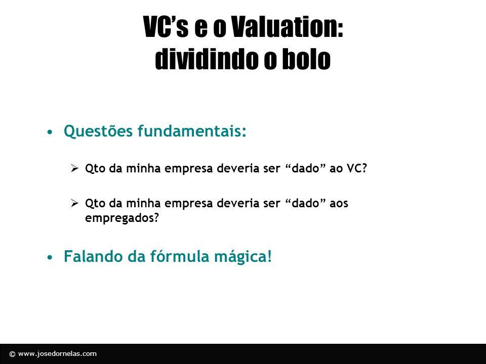 © www.josedornelas.com VCs e o Valuation: dividindo o bolo Questões fundamentais: Qto da minha empresa deveria ser dado ao VC? Qto da minha empresa de