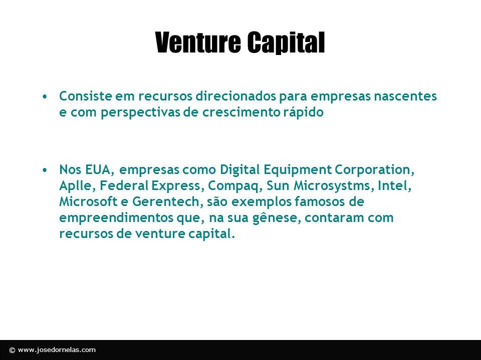© www.josedornelas.com Venture Capital Consiste em recursos direcionados para empresas nascentes e com perspectivas de crescimento rápido Nos EUA, emp