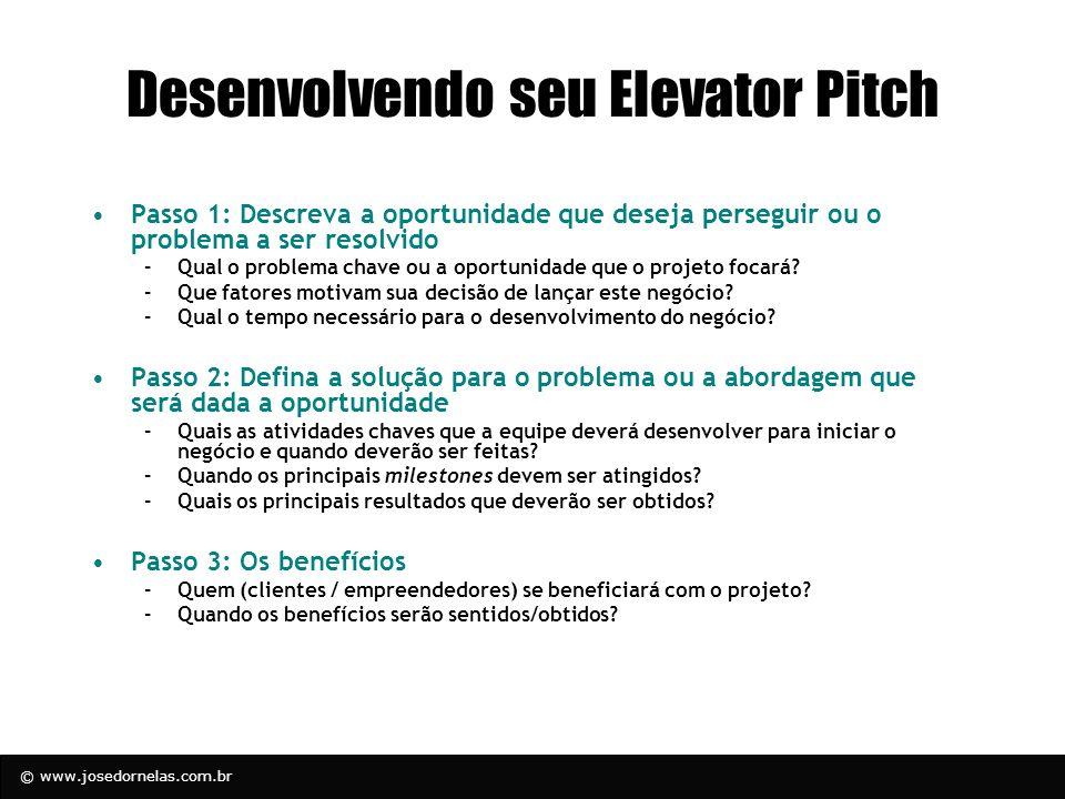 © www.josedornelas.com.br Desenvolvendo seu Elevator Pitch Passo 1: Descreva a oportunidade que deseja perseguir ou o problema a ser resolvido –Qual o