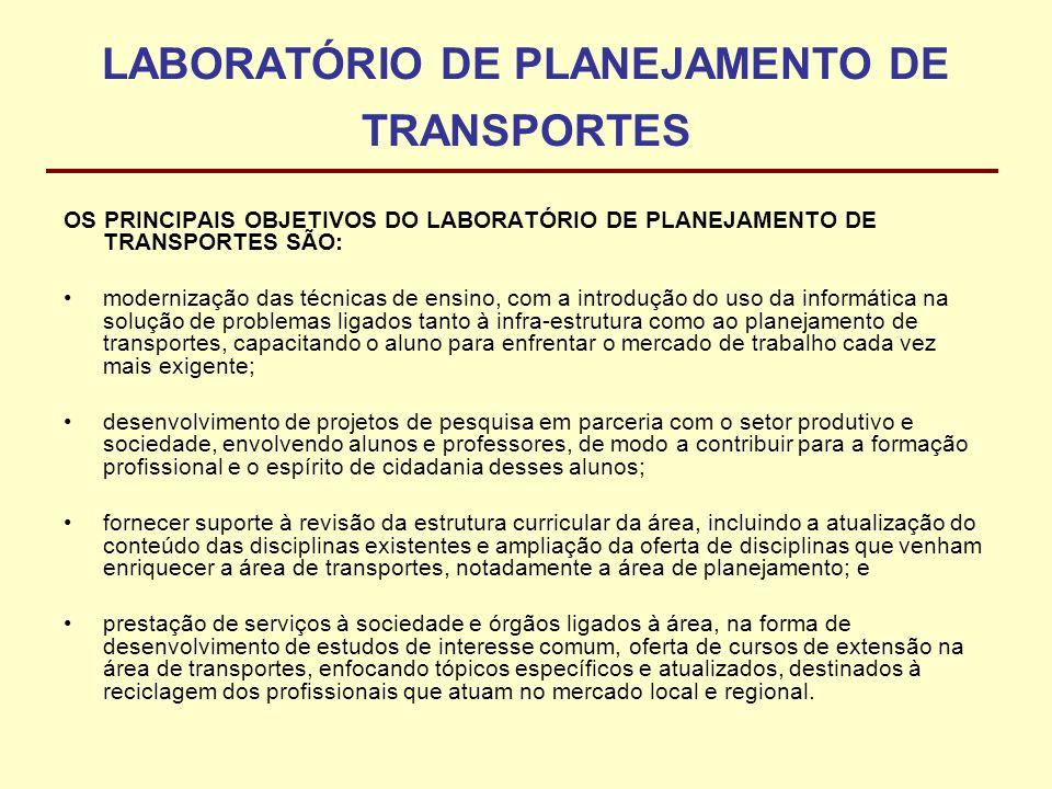 LABORATÓRIO DE PLANEJAMENTO DE TRANSPORTES OS PRINCIPAIS OBJETIVOS DO LABORATÓRIO DE PLANEJAMENTO DE TRANSPORTES SÃO: modernização das técnicas de ens