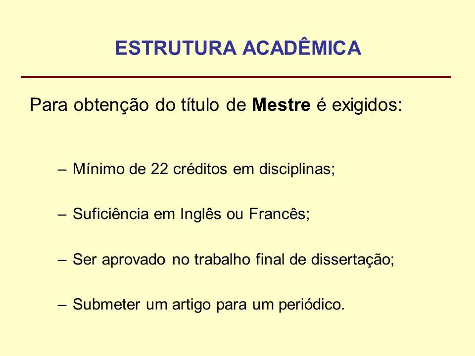 ESTRUTURA ACADÊMICA Para obtenção do título de Mestre é exigidos: –Mínimo de 22 créditos em disciplinas; –Suficiência em Inglês ou Francês; –Ser aprov