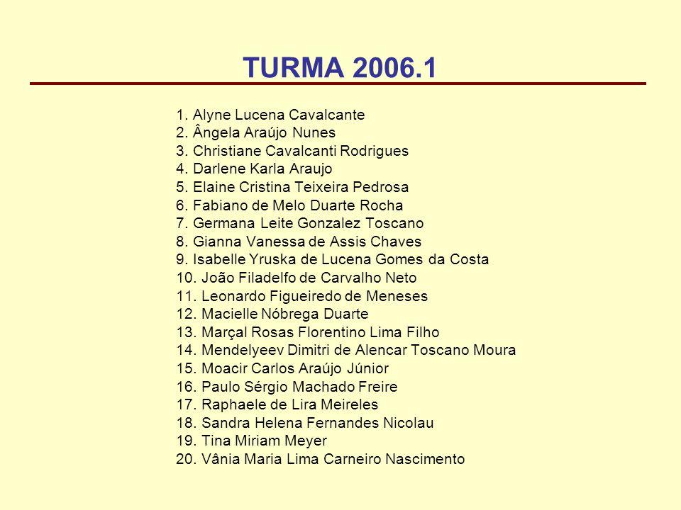 TURMA 2006.1 1. Alyne Lucena Cavalcante 2. Ângela Araújo Nunes 3. Christiane Cavalcanti Rodrigues 4. Darlene Karla Araujo 5. Elaine Cristina Teixeira