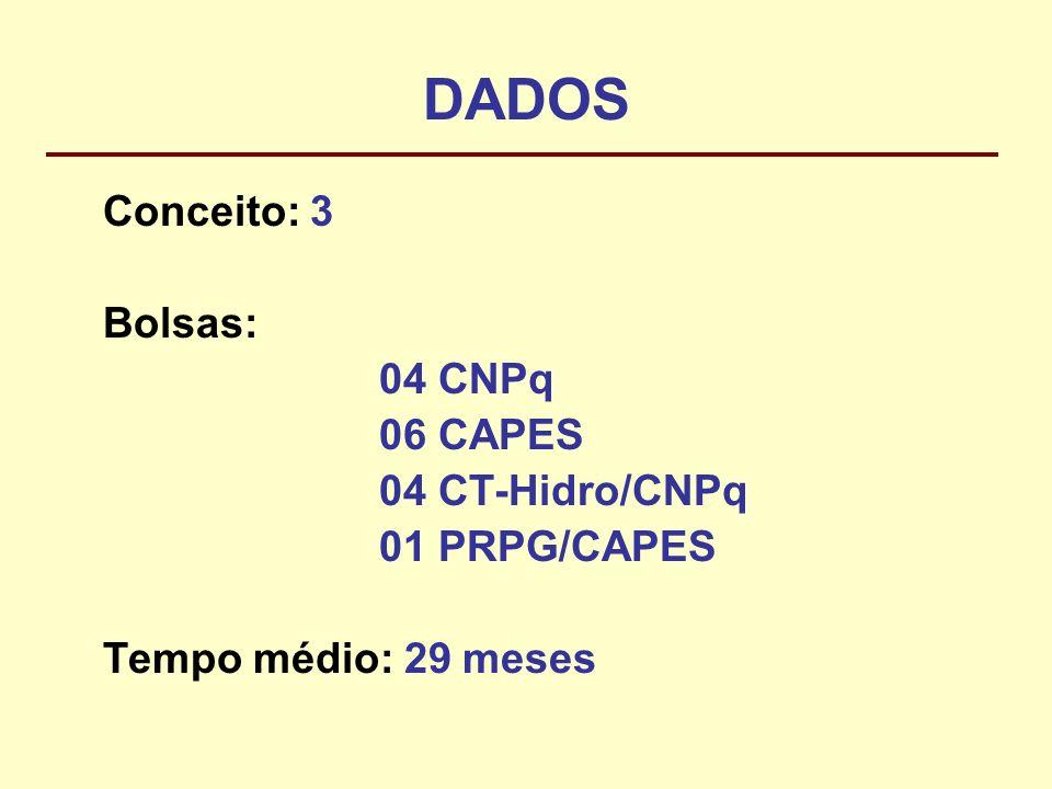 DADOS Conceito: 3 Bolsas: 04 CNPq 06 CAPES 04 CT-Hidro/CNPq 01 PRPG/CAPES Tempo médio: 29 meses