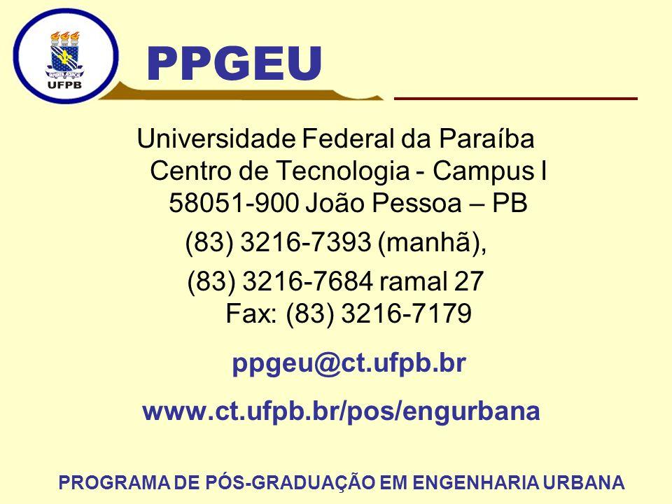 Universidade Federal da Paraíba Centro de Tecnologia - Campus I 58051-900 João Pessoa – PB (83) 3216-7393 (manhã), (83) 3216-7684 ramal 27 Fax: (83) 3