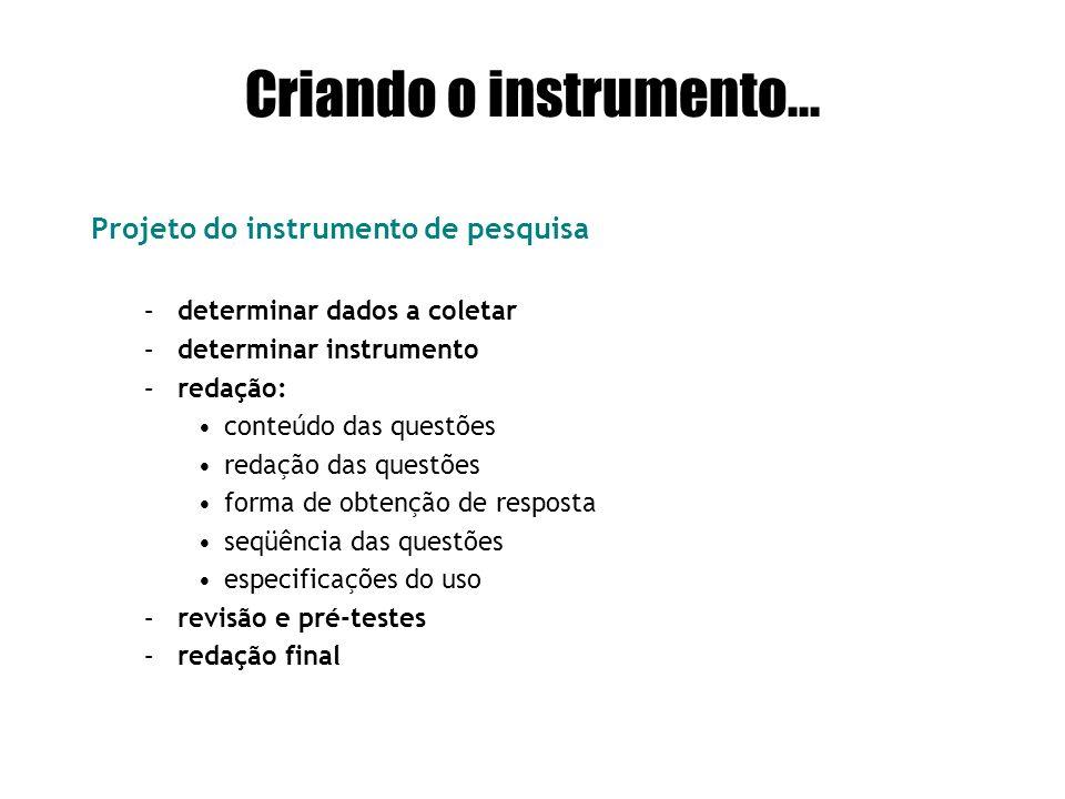Criando o instrumento... Projeto do instrumento de pesquisa –determinar dados a coletar –determinar instrumento –redação: conteúdo das questões redaçã