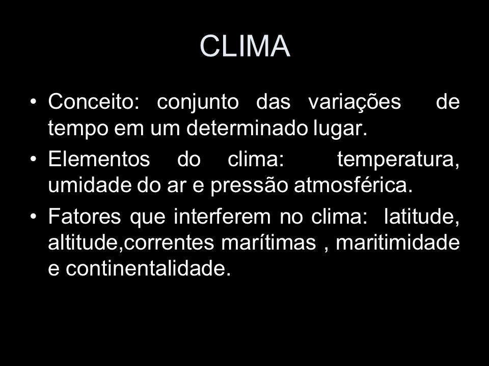 CLIMA Conceito: conjunto das variações de tempo em um determinado lugar. Elementos do clima: temperatura, umidade do ar e pressão atmosférica. Fatores