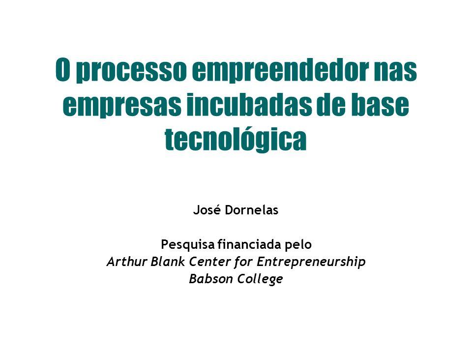 © www.josedornelas.com O processo empreendedor nas empresas incubadas de base tecnológica José Dornelas Pesquisa financiada pelo Arthur Blank Center for Entrepreneurship Babson College
