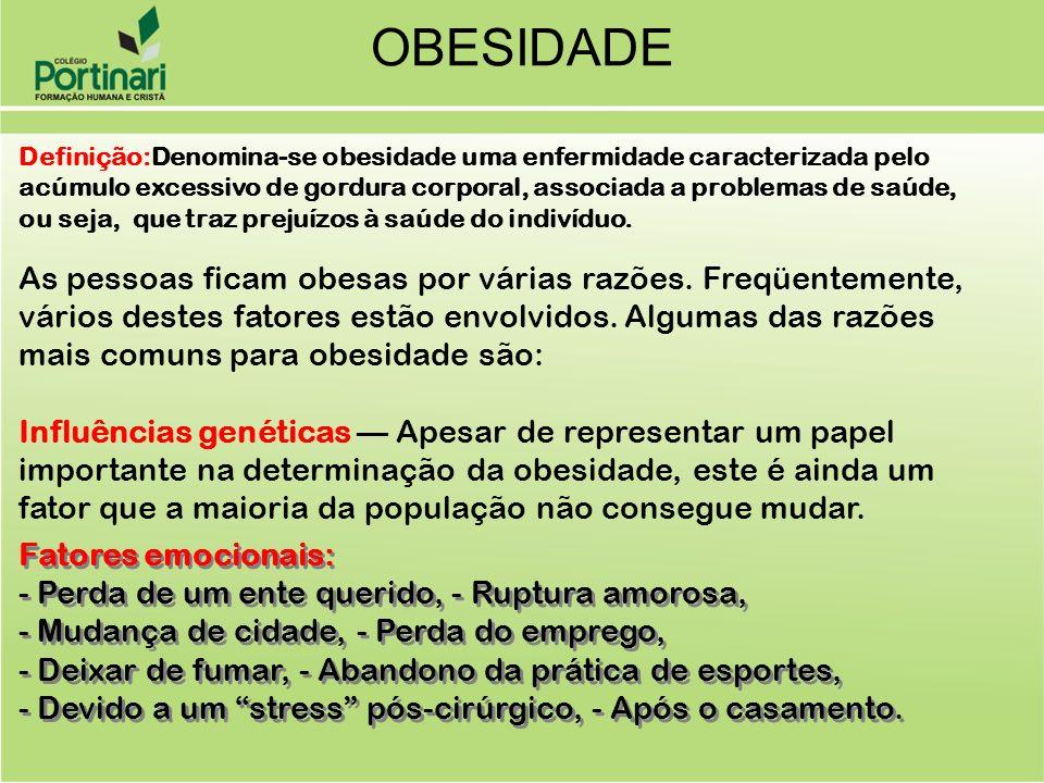 OBESIDADE Definição:Denomina-se obesidade uma enfermidade caracterizada pelo acúmulo excessivo de gordura corporal, associada a problemas de saúde, ou