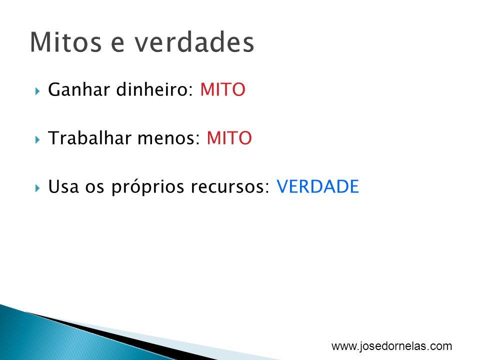 www.josedornelas.com Ganhar dinheiro: MITO Trabalhar menos: MITO Usa os próprios recursos: VERDADE