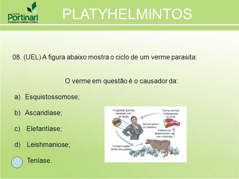 08. (UEL) A figura abaixo mostra o ciclo de um verme parasita: O verme em questão é o causador da: a) Esquistossomose; b) Ascaridíase; c) Elefantíase;