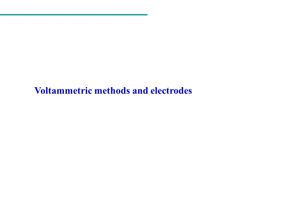 Electroanalytical methods Interfacial methods Bulk methods Static methods I ~ 0 Dinamic methods I # 0 Conductometry (G = 1/R) Conductometric Titrations ( volume ) Potentiometry (E) Potentiometric titrations ( volume ) Constant current Coulometric Titrations (Q = It) Electrogravimetry (wt) Controlled potential Electrogravimetry (wt) Amperometric titrations ( volume ) Voltammetry [ I = f (E) ] Const.